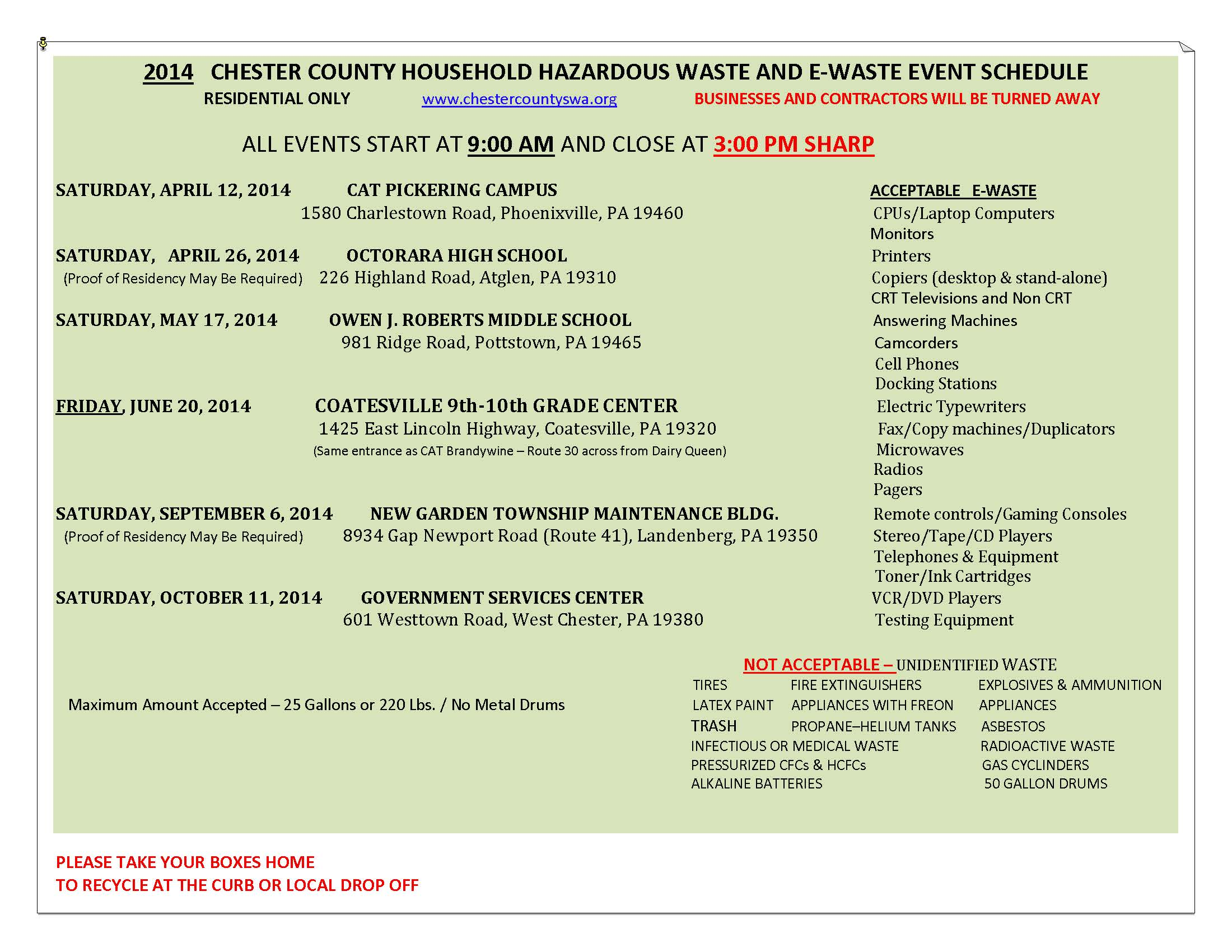 2014 HHW Event Schedule for Chester County
